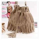 Women Suede Drawstring Bucket Bag Women vintage Handbag Faux Fringe Tassel Shoulder bags lady Messenger Bag WHC7521-Dollar Bargains Online Shopping Australia