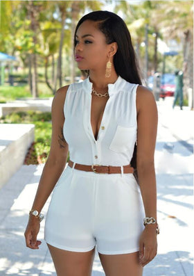 ada9519bff5 Summer Women Sexy Short Jumpsuit Womens Rompers Bodysuit Bodycon Sleeveless  Jumpsuits With Belt Lady Beach Overalls
