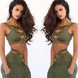 Sexy Plus Size 2XL Beach Swimwear Hollow Out Bandage Two Piece Sets Lady Bodycon Jumpsuit Sunshine Summer Women Playsuit-Dollar Bargains Online Shopping Australia