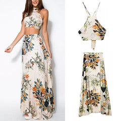 Women 2 Piece Set Crop Tops Bodycon+Long Maxi Skirt Party Floral Beach Dress-Dollar Bargains Online Shopping Australia
