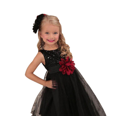 Princess Girl O-neck Sleeveless Sequined Floral Ball Gown Party Dresses One Piece Daily Dress-Dollar Bargains Online Shopping Australia