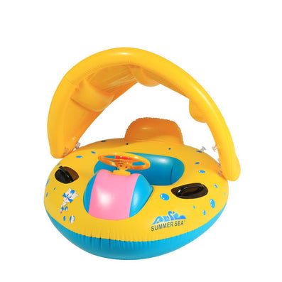 New Babies Sunshade pool fish float Inflatable Boat Water Development Toys Toddler Baby PVC Boat Yellow-Dollar Bargains Online Shopping Australia