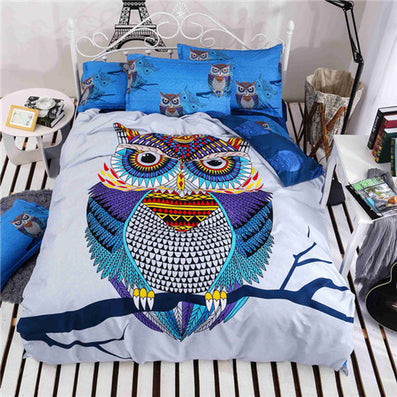 4/3 Pcs Cotton Bedding Kids Owl Boys/girls Bedding Set 3d Bed Linen