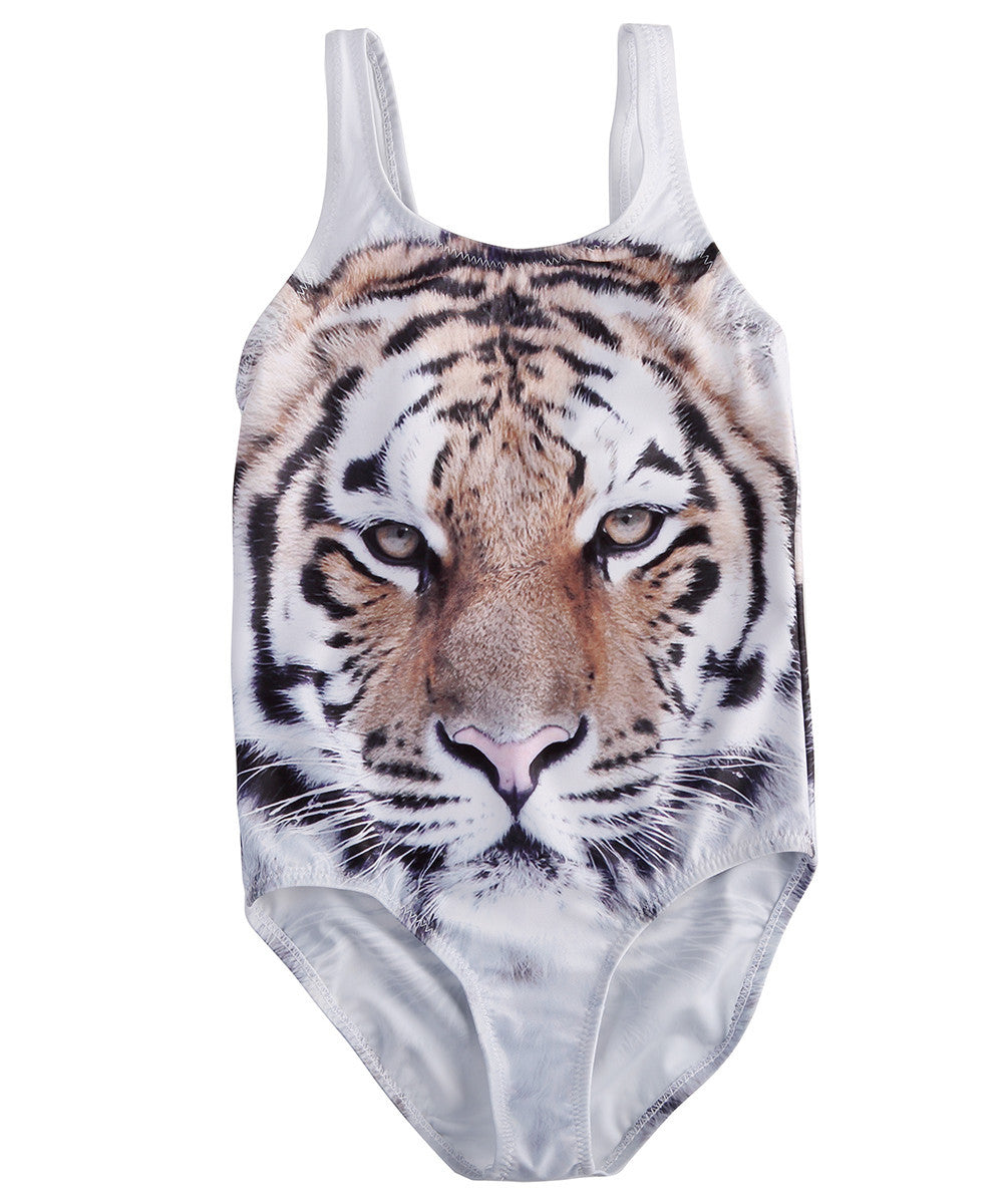 White / 1TNewest Kids Baby Girls One Piece Tiger Bikini Swimwear Swimsuit Bathing Suit Beachwear One Piece Children Swimsuit Swimwear