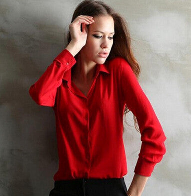 women summer solid blouse shirt casual slim workwear elegant chiffon blusas femininas tops ladies formal blouse plus size-Dollar Bargains Online Shopping Australia