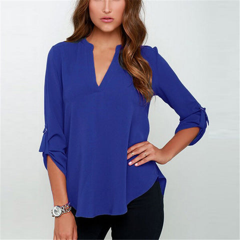 New Blusas Sexy Women V-neck Chiffon Blouse Casual Long Sleeve Solid Shirts Tops Plus Size 5XL feminina camisas 1WBL074 - Dollar Bargains - 6