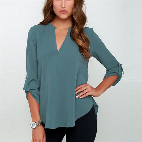 New Blusas Sexy Women V-neck Chiffon Blouse Casual Long Sleeve Solid Shirts Tops Plus Size 5XL feminina camisas 1WBL074 - Dollar Bargains - 2