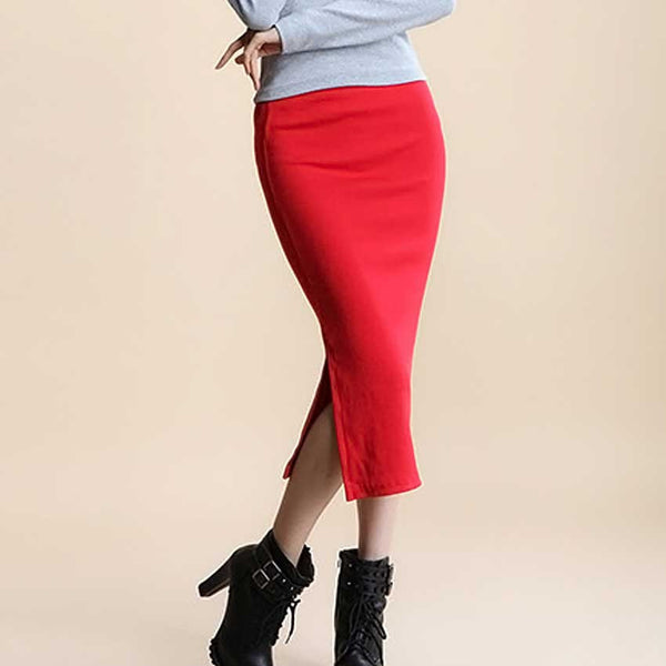 42ce1dacdf Summer skirts Sexy Chic Pencil Skirts Women Skirt Wool Rib Knit Long Skirt  Package Hip Split