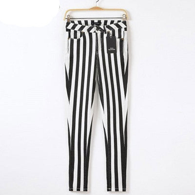 a277ac553bb7b0 Casual Spring Women Pencil Pants High Waist Cotton Black White Striped Women's  Pants New Fashion Office