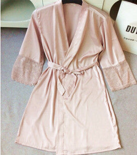 Mid-sleeve women nightwear robes plus size M L XL XXL lace real silk female bathrobes vs brand hot-Dollar Bargains Online Shopping Australia