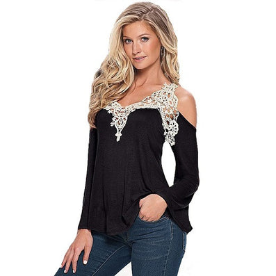 Summer Style Women Blouses Shirt Off Shoulder Long Sleeve V-Neck Lace Strapless Women Tops-Dollar Bargains Online Shopping Australia