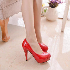 Stiletto heel four pure color waterproof big yards career woman single job interview leather shoes-Dollar Bargains Online Shopping Australia