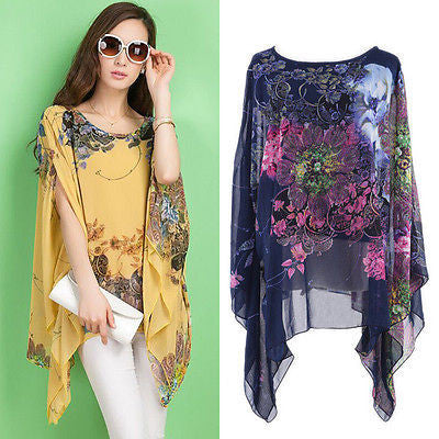Blusas Feminino  2016 New Summer Casual Fashion Floral Women Ladies Sexy Batwing Sleeve Loose Chiffon Floral Printed Blouse Tops - Dollar Bargains