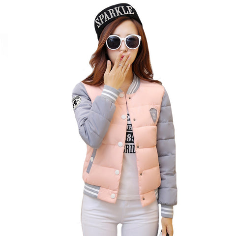autumn winter women warm baseball jacket candy color Splice plus size jacket cotton padded for elegant ladies zipper coats hem - Dollar Bargains - 1
