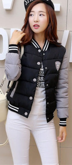 Black / Lautumn winter women warm baseball jacket candy color Splice plus size jacket cotton padded for elegant ladies zipper coats hem