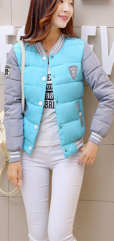 autumn winter women warm baseball jacket candy color Splice plus size jacket cotton padded for elegant ladies zipper coats hem - Dollar Bargains - 2