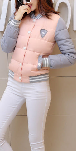 autumn winter women warm baseball jacket candy color Splice plus size jacket cotton padded for elegant ladies zipper coats hem - Dollar Bargains - 5