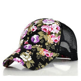 The new female floral hat baseball cap mesh cap spring and summer sports and leisure sun visor sun hat snapback cap - Dollar Bargains - 1