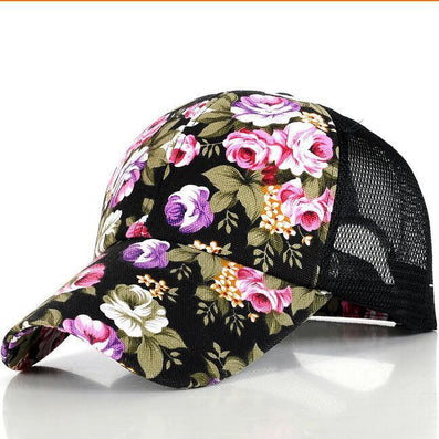 The new female floral hat baseball cap mesh cap spring and summer sports and leisure sun visor sun hat snapback cap - Dollar Bargains - 2