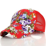 The new female floral hat baseball cap mesh cap spring and summer sports and leisure sun visor sun hat snapback cap - Dollar Bargains - 5