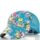 The new female floral hat baseball cap mesh cap spring and summer sports and leisure sun visor sun hat snapback cap - Dollar Bargains - 4