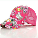 The new female floral hat baseball cap mesh cap spring and summer sports and leisure sun visor sun hat snapback cap - Dollar Bargains - 3
