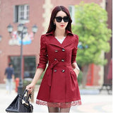 Women trench coats spring autumn overcoats fashion ladies lace slim style trench coats LS6679na-Dollar Bargains Online Shopping Australia