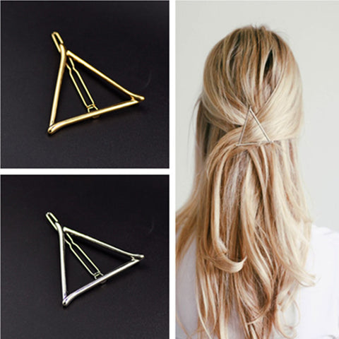 Vintage Gold/ Silver Color Metal Triangle Hairpin Girls' Hair Clips Women Fashion Hair Accessories - Dollar Bargains - 1