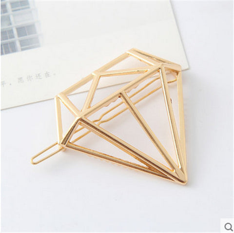 Vintage Gold/ Silver Color Metal Triangle Hairpin Girls' Hair Clips Women Fashion Hair Accessories - Dollar Bargains - 11