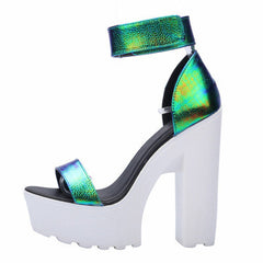 Laser PU Sandals New Ultra Platform Thick High Heels Sandals Sexy Peep Toe Shoes For Women Fashion A word Belt Sandals-Dollar Bargains Online Shopping Australia