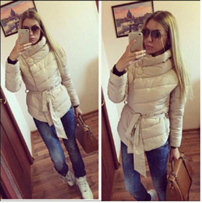 2016 winter jacket women Cotton down coat high collar with belt parkas for women winter 9 colors warm outerwear coats - Dollar Bargains - 8