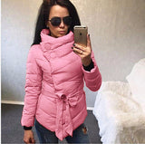 2016 winter jacket women Cotton down coat high collar with belt parkas for women winter 9 colors warm outerwear coats - Dollar Bargains - 4