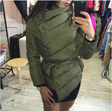 2016 winter jacket women Cotton down coat high collar with belt parkas for women winter 9 colors warm outerwear coats - Dollar Bargains - 7