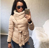 2016 winter jacket women Cotton down coat high collar with belt parkas for women winter 9 colors warm outerwear coats - Dollar Bargains - 6