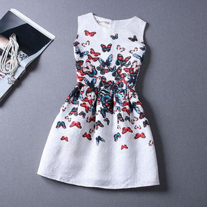 2015 Summer Style Dresses For Girl Butterfly Flower Printed Sleeveless Formal Girl Dresses Teenagers Party Dress Free Shipping - Dollar Bargains - 1