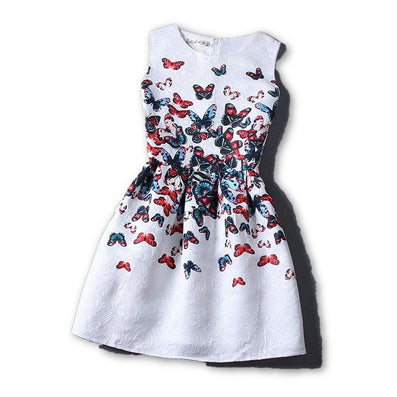 2015 Summer Style Dresses For Girl Butterfly Flower Printed Sleeveless Formal Girl Dresses Teenagers Party Dress Free Shipping - Dollar Bargains - 3