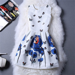2015 Summer Style Dresses For Girl Butterfly Flower Printed Sleeveless Formal Girl Dresses Teenagers Party Dress Free Shipping - Dollar Bargains - 2