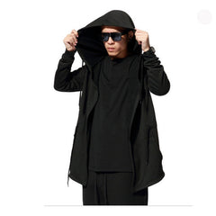 Black Cloak Hooded Male Streetwear Hip Hop Long Hoodies Clothing Men Outerwear Cool Man-Dollar Bargains Online Shopping Australia