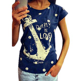 2015 summer tops tees ladies short t shirt women Boat anchor t-shirt dress Cotton female tshirt woman clothes plus size vestidos - Dollar Bargains - 1