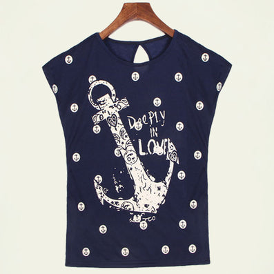 2015 summer tops tees ladies short t shirt women Boat anchor t-shirt dress Cotton female tshirt woman clothes plus size vestidos - Dollar Bargains - 5