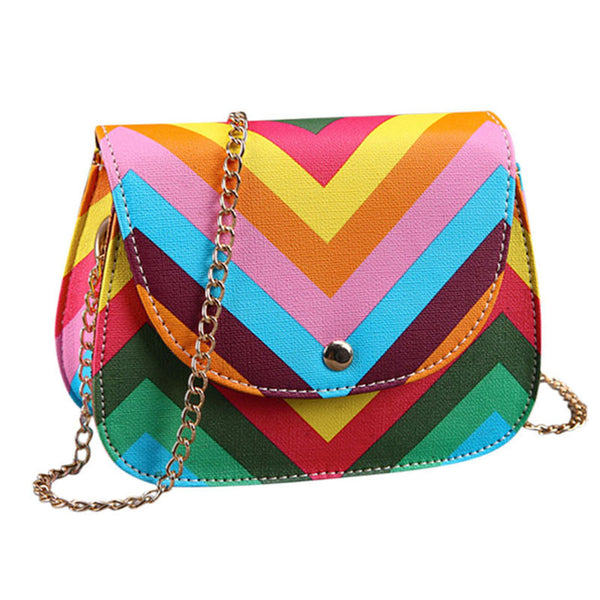 385474ae2435 New Women Brand Bag Rainbow Color Stripes Ladies Rivet leather Crossbody  Shoulder bag Party bags Messenger