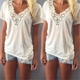 Sexy Fashion Women Summer Deep V Neck Thin Shirt Lace Neck Casual Loose Short Sleeve Blouse Tank Tops Shirt-Dollar Bargains Online Shopping Australia