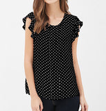 Summer Women Blouses New Print shirts Casual Women Top ruffles sleeve Blue Polka Dot Blouses summer style For Women-Dollar Bargains Online Shopping Australia