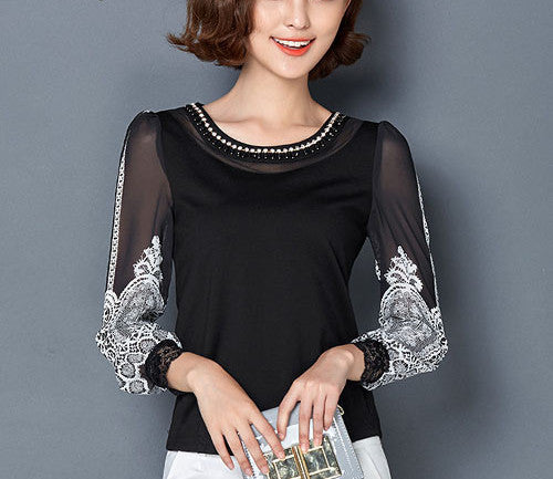 Black / SS-4XL Women clothing Elegant Chiffon blouse Long sleeve Patchwork Printed shirt Beaded Plus size Casual Women lace Tops