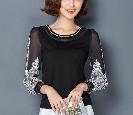S-4XL Women clothing Elegant Chiffon blouse Long sleeve Patchwork Printed shirt Beaded Plus size Casual Women lace Tops-Dollar Bargains Online Shopping Australia