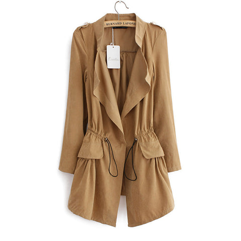 Women autumn office long trench plus size full sleeve drawstring Waist coats casaco feminine casual streetwear tops CT1089 - Dollar Bargains - 1