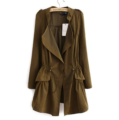 Women autumn office long trench plus size full sleeve drawstring Waist coats casual streetwear tops CT1089-Dollar Bargains Online Shopping Australia