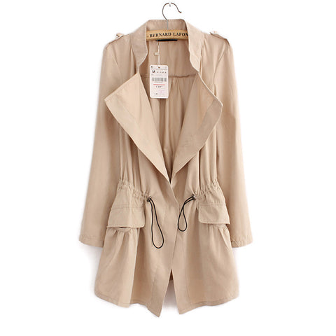 Women autumn office long trench plus size full sleeve drawstring Waist coats casaco feminine casual streetwear tops CT1089 - Dollar Bargains - 5