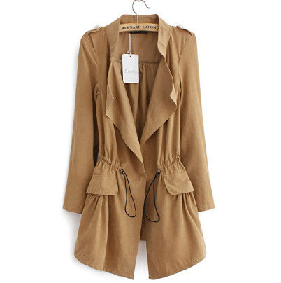 Women autumn office long trench plus size full sleeve drawstring Waist coats casaco feminine casual streetwear tops CT1089 - Dollar Bargains - 4