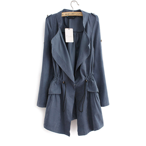 Women autumn office long trench plus size full sleeve drawstring Waist coats casaco feminine casual streetwear tops CT1089 - Dollar Bargains - 6
